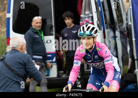 Team Valcar PBM rider at the start of the 2018 Ovo Women's Tour - Stock Image