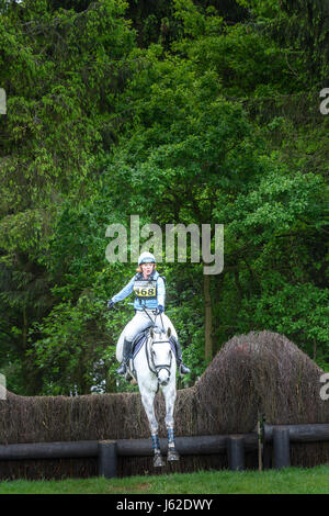 Rockingham Castle grounds, Corby, England. 19th May 2017.  Jane Vernon with her horse B hurtles leap a fence at - Stock Image