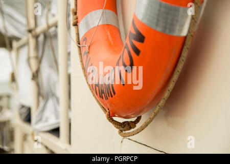 A Southampton life buoy on board the tall ship Lord Nelson - Stock Image
