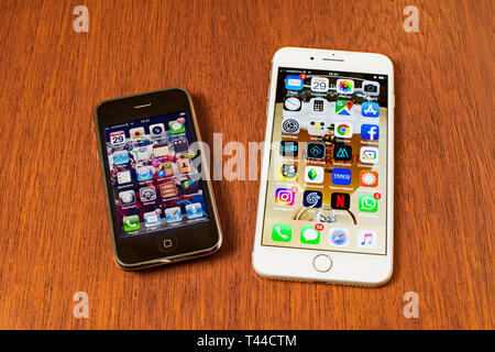 Apple 3 and 8 plus iPhones seen side by side - Stock Image