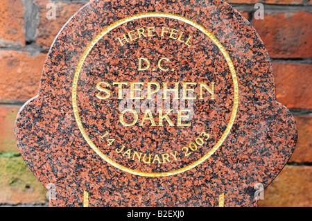 memorial stone murdered special branch policeman Stephen Oake Crumpsall Lane Crumpsall Manchester tribute al Qaeda - Stock Image