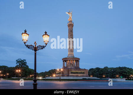 Victory Column ,Twilight, Tiergarten, Berlin - Stock Image