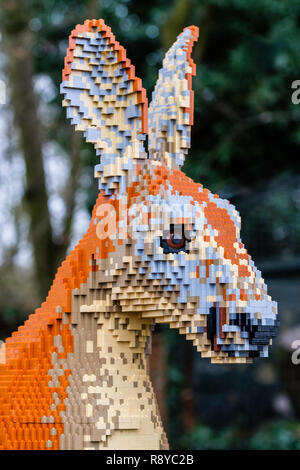 Model of a Kangaroo made of Lego. - Stock Image