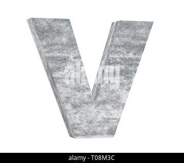 Concrete Capital Letter - V isolated on white background. 3D render Illustration - Stock Image