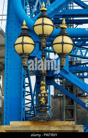 Middlesbrough Transporter Bridge original Edwardian decorative lights at the South entrance to the bridge - Stock Image