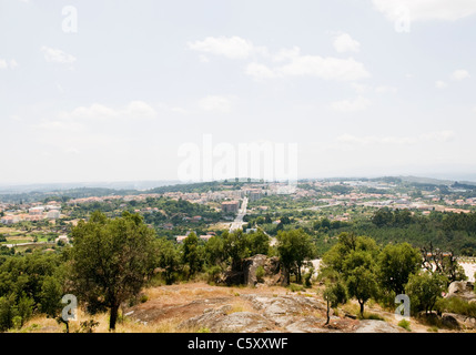 A general view of Mangualde, a small town in the Dão Valley region of northern Portugal - Stock Image