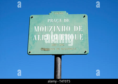 Praça de Mouzinho de Albuquerque street sign near the Rotunda da Boavista in Porto city centre Portugal Europe EU  KATHY DEWITT - Stock Image