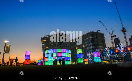 Polaris - the light installation containing computer-controlled LED lights, by Mark Robinson at the centre of Liverpool ONE shopping centre, Merseyside - Stock Image