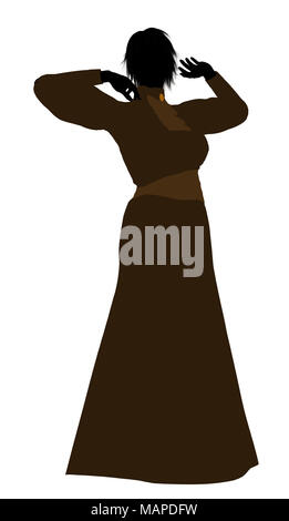 Female victorian art illustration silhouette on a white background - Stock Image