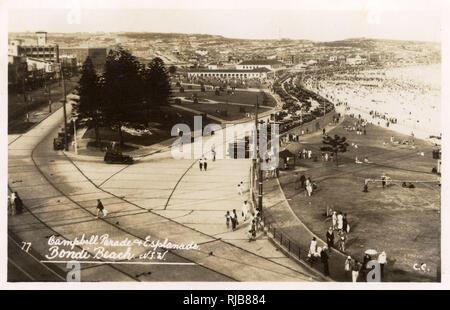 Campbell Parade and Esplanade, Bondi Beach, Sydney, New South Wales, Australia, with many cars parked. - Stock Image