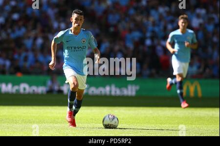 Phil Foden of Manchester City during the FA Community Shield match between Chelsea and Manchester City at Wembley Stadium in London. 05 Aug 2018 - Stock Image