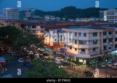 Kota Kinabalu at dusk, Sabah, Malaysian Borneo - Stock Image