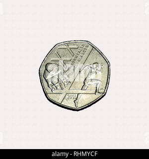 Limited edition British 50p piece coin commemorating the 20th Commonwealth games held in Glasgow in 2014 - Stock Image