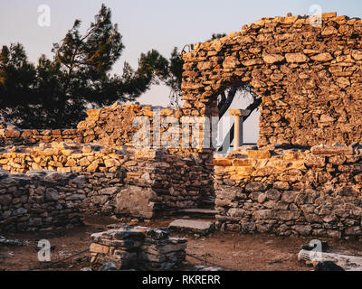 The ancient site at Aliki, the marble port ruins in Thasos Island, Greece - Stock Image