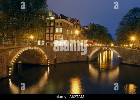 Amsterdam Gracht at twilight - Stock Image