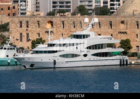 The 56m Oceanco luxury yacht Queen Mavia in Marsamxett Harbour, Malta - Stock Image