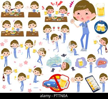 A set of Surgical Doctor women related to alcohol.There is a lively appearance and action that expresses failure about alcohol.It's vector art so it's - Stock Image