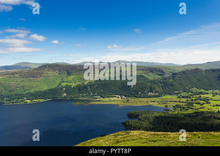 The south end of Derwent Water in the English Lake District, viewed from the summit of Catbells (451m/1,480 ft), looking east towards Castlerigg Fell  - Stock Image