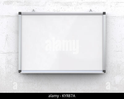 Blank Whiteboard on rough white concrete wall. Scratched surface, blank for copy space. 3d render, - Stock Image
