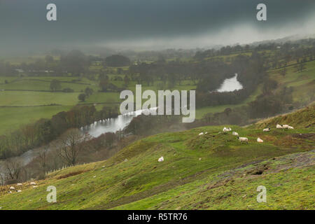 Teesdale landscape, a bright interval gives some foregound illumination, low cloud and mist obsucres the view towards Middleton - Stock Image