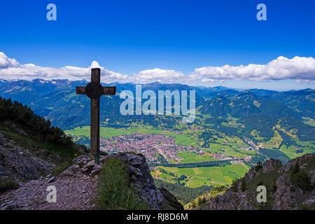 Panorama vom Rubihorn, 1957m, auf Oberstdorf, Allgäu, Bayern, Deutschland, Europa - Stock Image