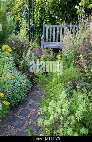 Small herb garden with wooden seating area, summer, August, England, UK - Stock Image