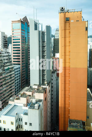 High rise buildings seen from above in the Wan Chai district, Hong Kong - Stock Image