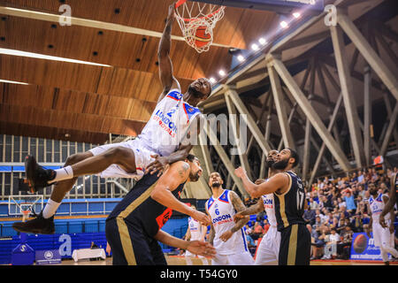 London, UK, 20th April 2019. Tensions run high in the London City Royals v Glasgow Rocks BBL Championship game at Crystal Palace Sports Centre. Home team LCR win the tight game 78-70. Credit: Imageplotter/Alamy Live News - Stock Image