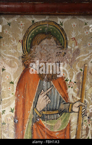Painted Saint on the Rood Screen, Saint James the Less holding a Fuller's Club, much defaced, St Michael's - Stock Image