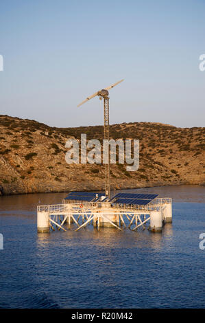 Floating wind desalination multi use platform in the Aegean Sea, near the Cyclade island of Iraklia. - Stock Image
