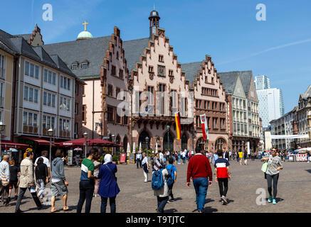 The Ršmer, City Hall of Frankfurt am Main, Ršmerberg Square, Ršmer Rathaus, landmark of the city, stepped gable faade, - Stock Image