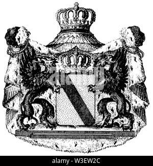 Emblem of Baden, ,  (cultural history book, 1875) - Stock Image