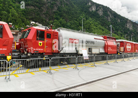 Tank wagon of the firefighting and rescue train LRZ 14, based on a Windhoff MPV. Operated by SBB, the Swiss Federal - Stock Image