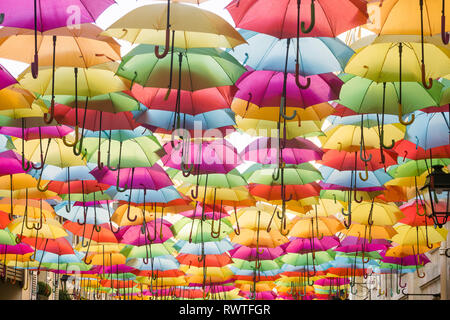 'Umbrella sky' over open air passage Royal in Paris, France. - Stock Image