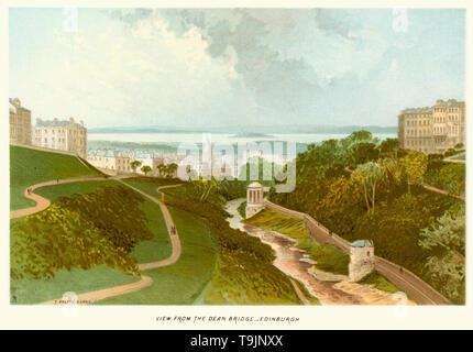 Vintage print of Edinburgh Scotland from the Dean Bridge circa 1880 - Stock Image
