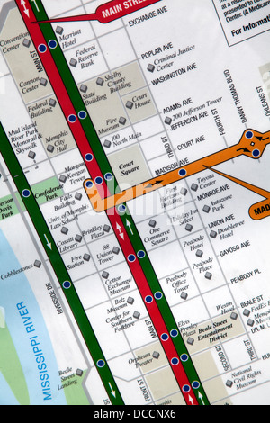Map of tram routes at a tram stop in Memphis Tennessee USA - Stock Image