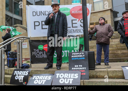 Glasgow, UK. 19th January 2019. Several hundred trades union activists and supporters attended a rally in Buchanan Street, Glasgow as a demonstration against government cuts to local services resulting in the loss of almost 50,000 jobs. Several unions were represented including UNITE, UNISON,RMT, PCS and the PRISON OFFICERS UNION. Phil McGarvey from the RMT gave the initial speech calling for the end to austerity. Credit: Findlay/Alamy Live News - Stock Image