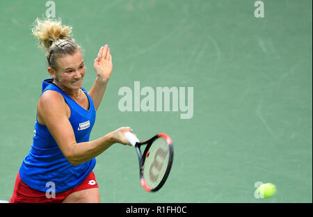 Prague, Czech Republic. 10th Nov, 2018. Czech tennis player Katerina Siniakova in action against US tennis player Alison Riske (not seen) within the 2018 Fed Cup final match between Czech Republic and USA, rubber 2, singles, at the O2 arena in Prague, Czech Republic, on November 10, 2018. Credit: Michal Kamaryt/CTK Photo/Alamy Live News - Stock Image