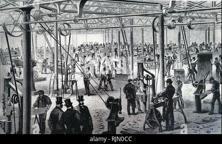 Illustration showing men on a tread mill, raising water, using a Chinese square pallet chain pump. 1835 - Stock Image