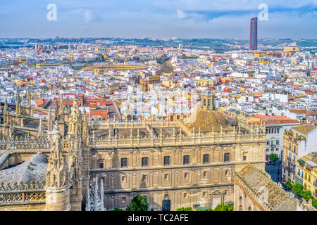 Westward view of the city of Seville from the Giralda tower, Spain. - Stock Image