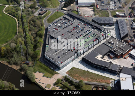 aerial view of Asda Barons Quay, Northwich, Cheshire - Stock Image