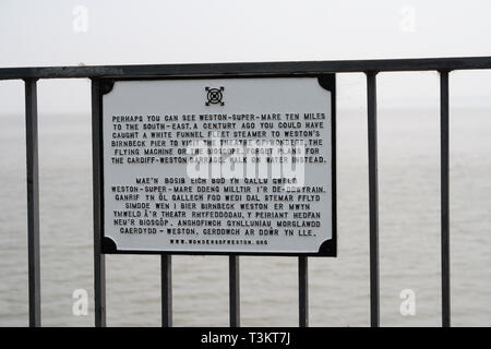 Metal Plaque on Cardiff bay barrage commerating steam ship cruises - Stock Image