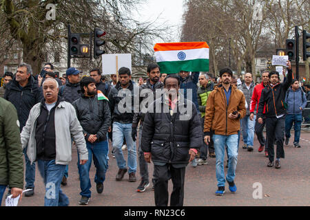 London, UK, 16 February, 2019. British indians protesting in London against Pakistan's terrorist activities after an attack on Indian CRPF soldiers when their convoy was travelling in a bus in Pulwama region, Jammu & Kashmir, India. The terrorist attack was carried out by/as claimed by Jaish-e-Mohammad who is hiding in Pakistan. Harishkumar Shah/Alamy Live news - Stock Image
