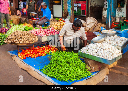 GOA, INDIA - APRIL 06, 2012: Fruts and vegetables at the local market in India - Stock Image