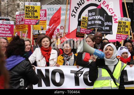 London, UK - 16 March 2019: Thousands of people  including  Rokhsana Fiaz (centre), the  Mayor of Newham joined  thousands of people took part in the UN Anti-Racism Day demonstration that took place in central London on 16 March. The demonstration which began in Park Lank and ended outside Downing Street was organised by Stand Up to Racism and Love Music Hate Racism and supported by the TUC and UNISON. Photo: David Mbiyutook part in the UN Anti-Racism Day demonstration that took place in central London on 16 March. The demonstration which began in Park Lank and ended outside Downing Street was - Stock Image