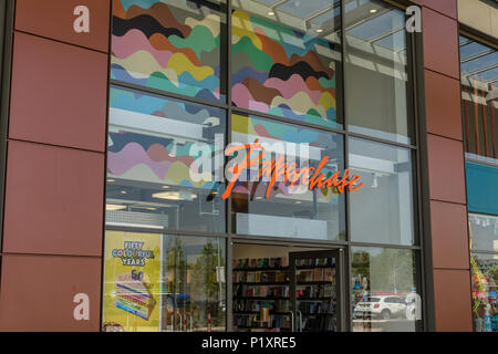 Frontage of a Paperchase store, a chain retailer specialising in stationery products; Rushden Lakes, Northamptonshire, UK - Stock Image