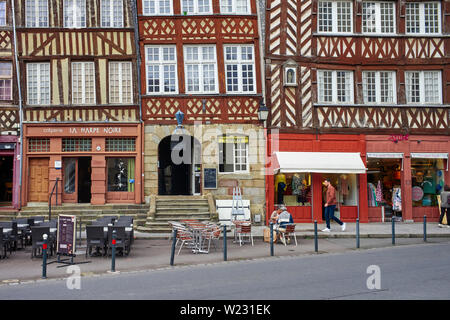 Wooden framed buildings in the old quarter of Rennes the capital of Brittany, France - Stock Image