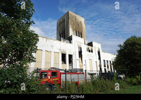 Liverpool, UK. 3rd Sep 2018. The fire at the former Littlwoods Pools building on Edge Lane in Liverpool was finally put out in the early hours of Monday morning, 3rd Septmeber, 2018 after it started around 8pm on the previous evening of Sunday, 2nd September. There was extensive damage to one wing of the building but the outer shell of the building remains intact. The building was built in 1938 by Sir John Moores. Photo taken on Monday afternoon. Credit: Pak Hung Chan/Alamy Live News - Stock Image