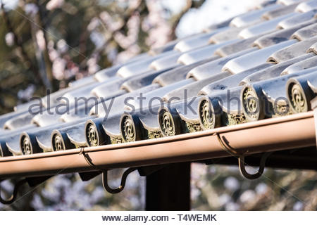 Detail of a traditional Japanese ceramic tiled roof, Fukakusa Kaidoguchicho, Fushimi Ward, Kyoto, Honshu, Japan - Stock Image