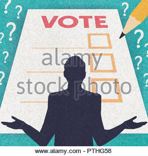 Undecided voter and ballot paper - Stock Image